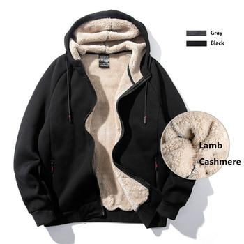 Plus Size 8XL 7XL 6XL Warm Winter Sweatshirt Men Hooded Hoodies Casual Zipper Cardigan Thicken Lamb Cashmere Coats Male 2019