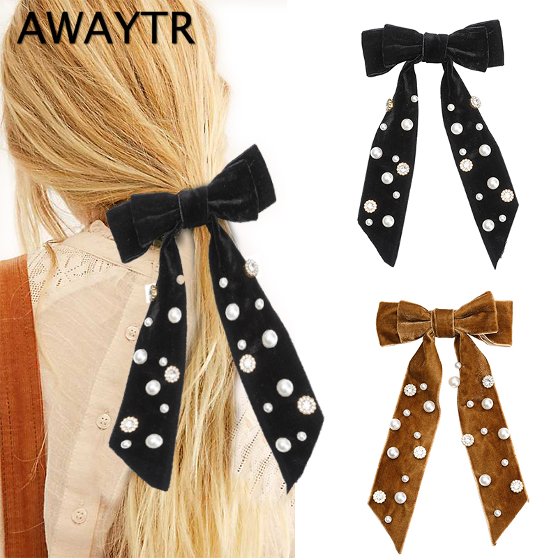 AWAYTR  Fashion Wild Big Large Pearl Bow Ribbon Hairpin Women Hair Scarf  Velvet Bow Hair Clips For Girls Hair Accessories