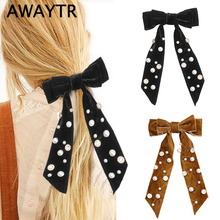 AWAYTR  Fashion Wild Big Large Pearl Bow Ribbon Hairpin Women Hair Scarf Velvet Clips for Girls Accessories