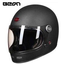 BEON B 510 tam yüz karbon fiber motokros kask beon 510 vintage motosiklet profesyonel retro kask ECE sertifikası