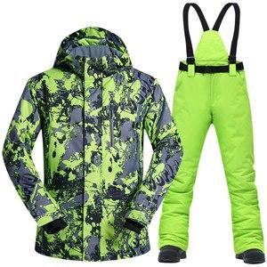 Image 2 - Ski Anzug Männer Winter Thermische Wasserdicht Winddicht Kleidung Schnee Hosen und Ski Jacke Männer Set Skifahren und Snowboarden Anzüge Marken