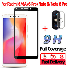 2 in 1 Screen Protector for Xiaomi Redmi 6A 6 Pro Tempered Glass Note Camera Lens Film A Protective