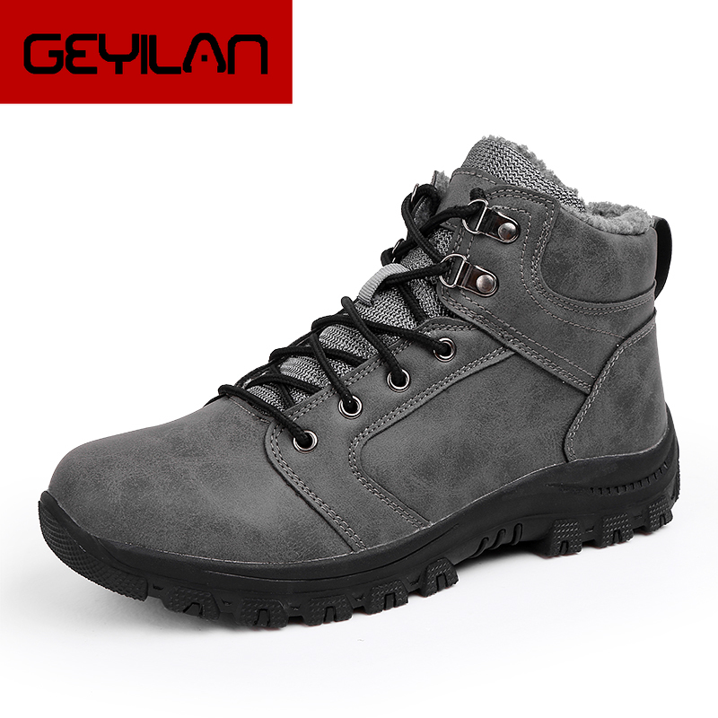 Men Leather Boots 2019 Winter Quality Ankle Boots Fur Linging Man Snow Shoes Ankle Boot Men's Snow Shoe Work Plus Size 39-47