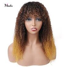 Meetu-Peluca de cabello rizado 1B/4/30, Color degradado, cabello humano con flequillo, 100%, cabello humano completo, pelucas hechas a máquina, cabello Remy