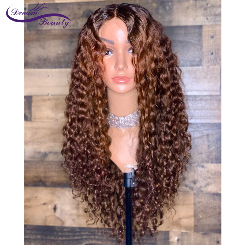 13X6 Lace Front Human Hair Wigs Brazilian Remy Hair Deep Part Pre-Plucked Hairline Kinky Curly Dream Beauty