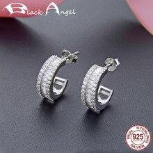 Genuine 100% 925 Sterling Silver Clear CZ Entwined Stud Earrings for Women 925 Silver Fine Jewelry [meibapj] 925 silver 100