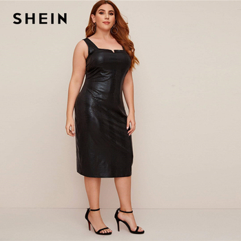SHEIN Plus Size Black Crocodile Faux Leather Fitted Dress Women 2020 Summer Sleeveless Plus Elegant Tank Long Dresses 3