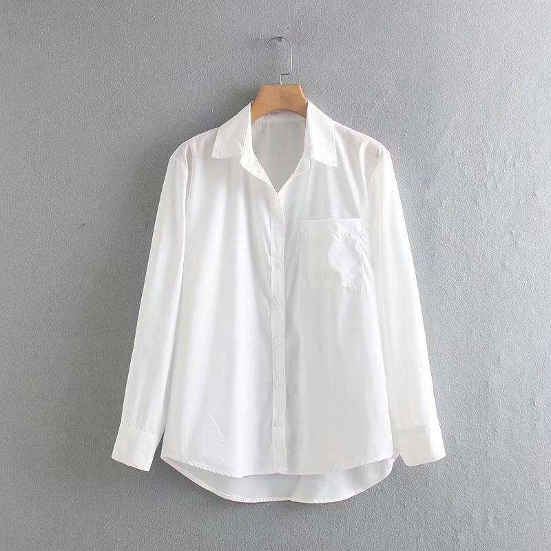 Novas mulheres simplesmente bolso cor sólida roupas business casual Shirts blusas mulheres manga comprida branca chique camisa chemise LS4164