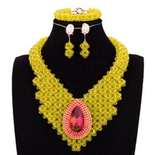 Dudo sklep nigerii zestaw biżuterii ślubnej dla kobiet żółty kostium Choker turecki 3 sztuk zestaw biżuterii ślubnej darmowa wysyłka biżuteria tanie tanio URORU Miedzi Kobiety Kryształ Naszyjnik kolczyki bransoletka Zestawy biżuterii Moda Klasyczny Ślub African Beads Jewelry Set