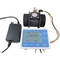 G 2 Inch Flow Water Sensor Meter+Lcd Display Controller 10 200L/Min+24V Power,Eu Plug