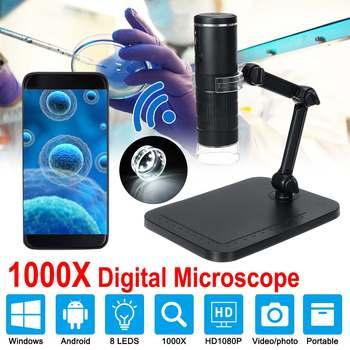 1000X2 MP Handheld Wifi mikroskop cyfrowy kamera lupa 1080P z 8 diodami led i stojak mikroskop inspekcja obserwacja owadów tanie i dobre opinie ZEAST 500X-1500X Wysokiej Rozdzielczości PORTABLE Z tworzywa sztucznego 1920*1080P