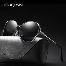 FUQIAN 2019 Fashinable Polarized Women Sunglasses Luxury Big Metal Frame Glasses Unique Design Temple Eyewear