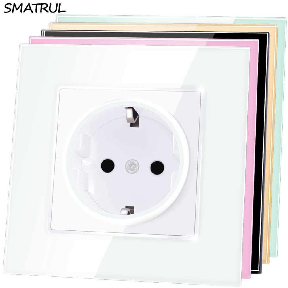SMATRUL EU Standard Wall Power Socket Plug Grounded AC 110~250V 16A Electrical Outlet Crystal Glass Panel
