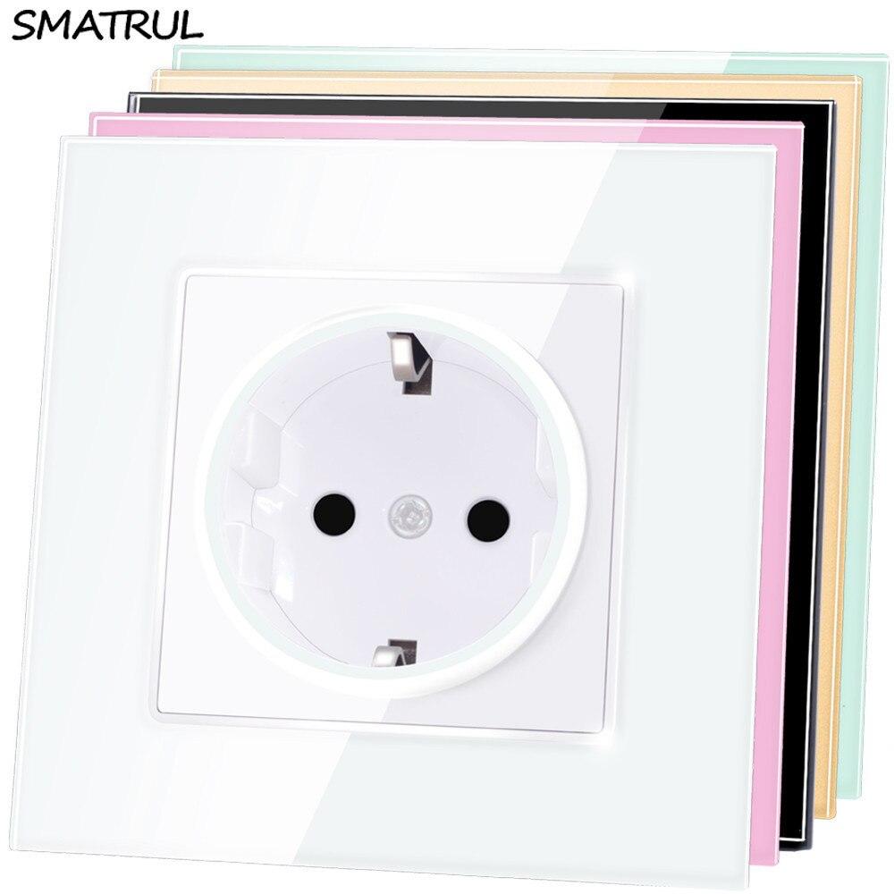 SMATRUL EU Standard Wall Power Socket Plug Grounded AC 110~250V 16A Electrical Outlet Crystal Glass Panel