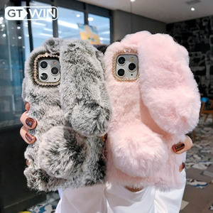 GTWIN Plush Warm Phone Case for iPhone 11 Pro XS Max XR X Cute Long Rabbit Ears Furry Fluffy Fur Cover For iPhone7 6 6S 7 8 Plus(China)