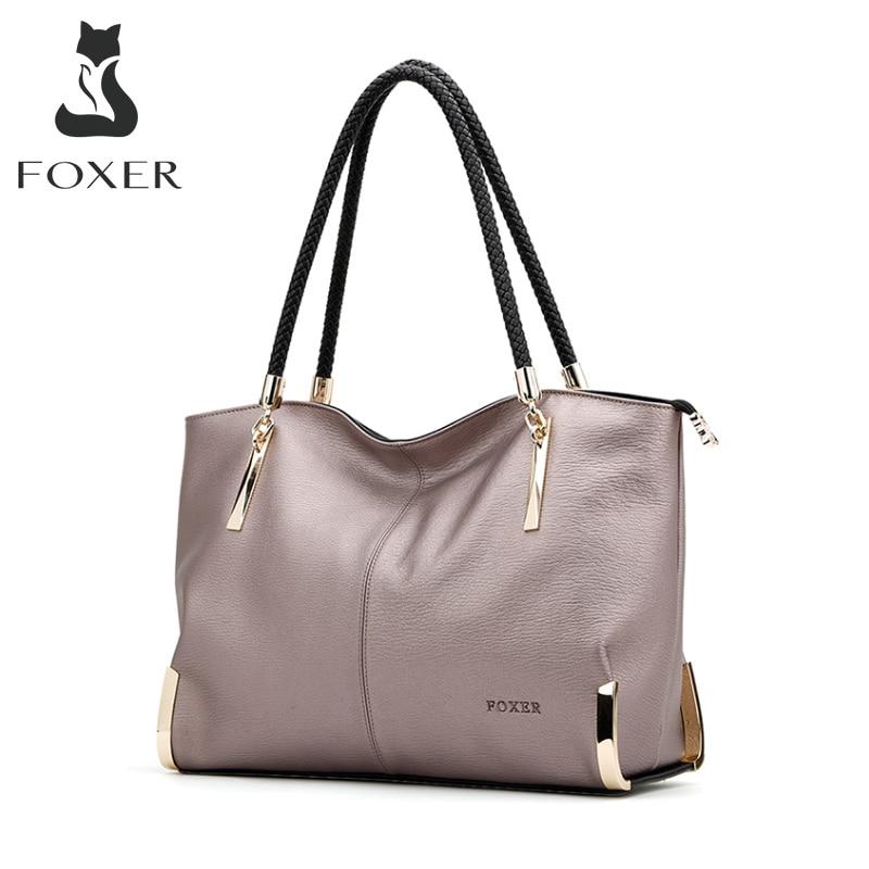 FOXER Brand Women's Cow Leather Handbags Female Shoulder bag designer Luxury Lady Tote Large Capacity Zipper Handbag for Women|brand leather handbag|designer leather handbagsleather handbags - AliExpress