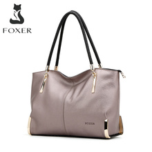 FOXER Brand Womens Cow Leather Handbags Female Shoulder bag designer Luxury Lady Tote Large Capacity Zipper Handbag for Women