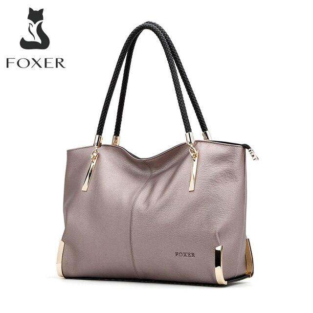 FOXER ماركة المرأة بقرة حقائب يد جلدية الإناث حقيبة كتف مصمم فاخر سيدة حمل سعة كبيرة سستة حقيبة يد للنساء