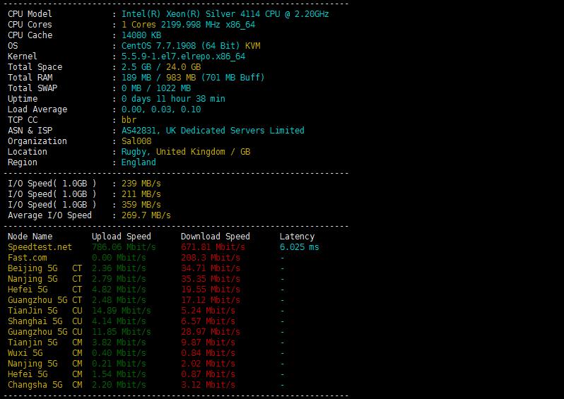 一键检测Linux VPS/服务器配置、IO、国内节点下载测速
