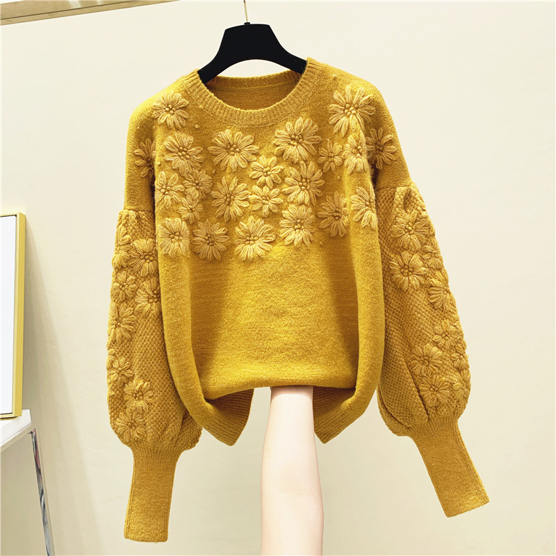 2020 Spring Autumn Thick Hand-Made Embroidery Three-dimensional Flower Round-Neck Loose-Fit Sweater Women's Sweates Outwear