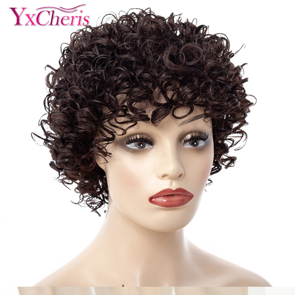 Short Kinky Curly Afro Wig Heat Resistant Wigs For Women Brown Nautral Cosplay Costume Party Synthetic Hair YxCheris