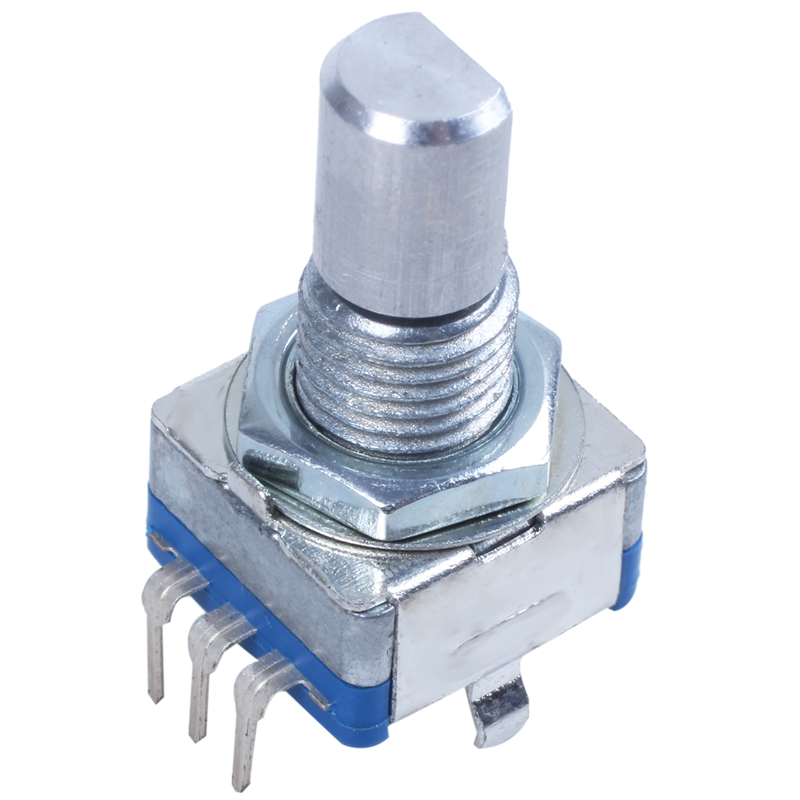 20-point Shaft Detents Encoder And 360 Degree Rotary With Push Button Blue + Silver