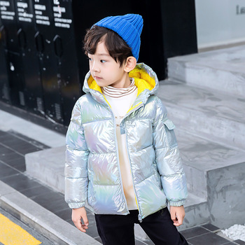Winter Down jacket for girl Boys Gold Glossy Hooded Warm Jacket Polyester material Jackets for girls boy winter jacket baby reima jackets 8689577 for girls polyester winter fur clothes girl