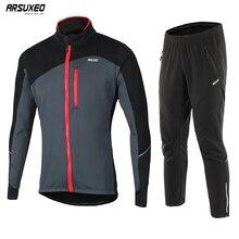 ARSUXEO ensemble de veste thermique en molleton pour homme, tenue de sport en molleton, coupe vent, 17DD
