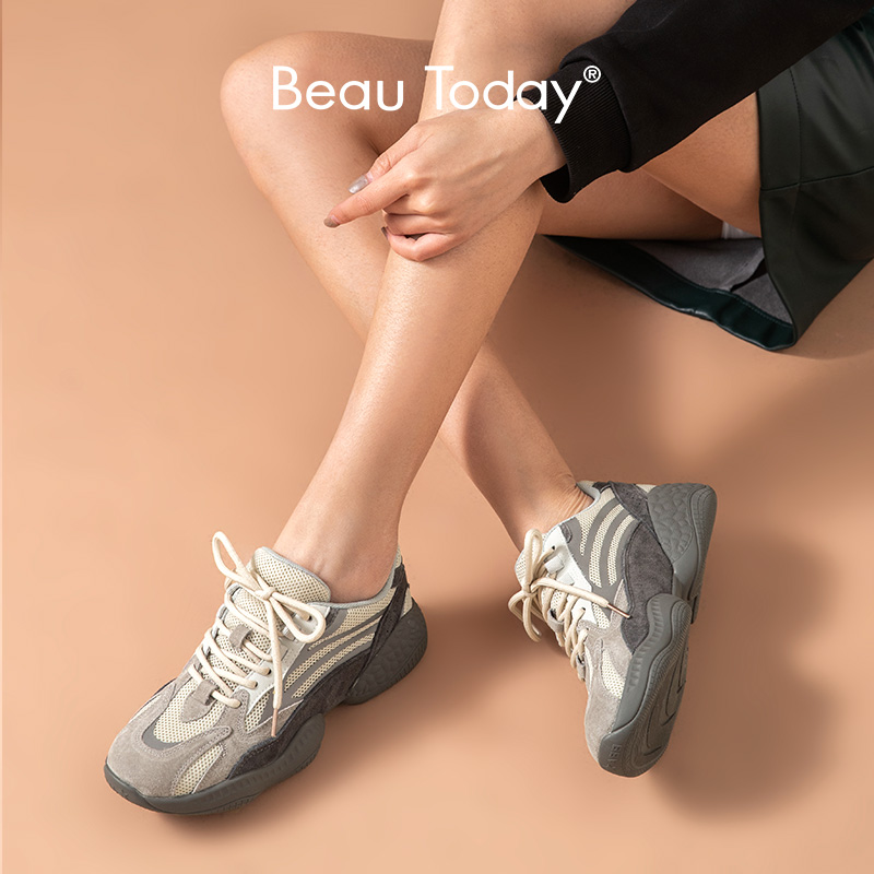 BeauToday Chunky Sneakers Women Genuine Cow Leather Pigskin Round Toe Cross-Tied Lady Casual Dad Shoes Platform Handmade 29350