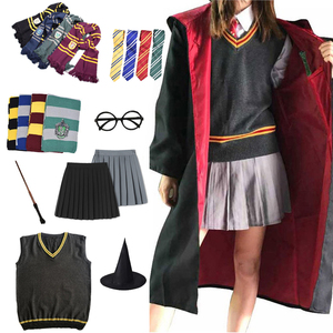 Gryffindor Slytherin Magic Cloak Potter Cosplay Costume Robe Cape Hermione Granger Cosplay Potter Ravenclaw Hufflepuff Costume(China)