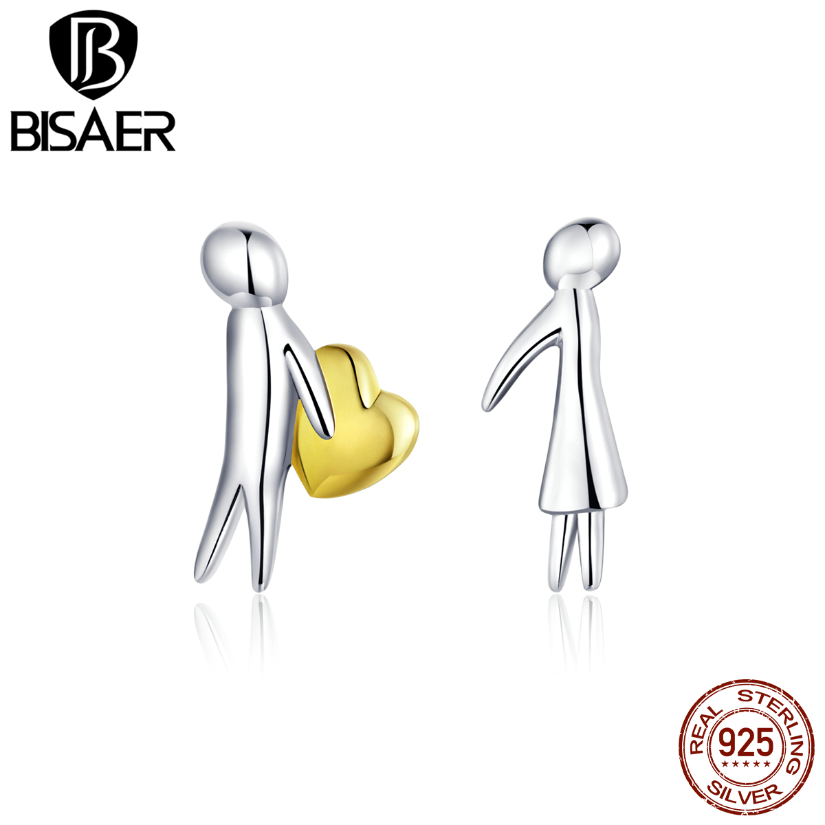 Women Earrings BISAER High Quality 925 Sterling Silver Love Couple Exquisite Small Earrings Stud For Women Silver Jewelry ECE851