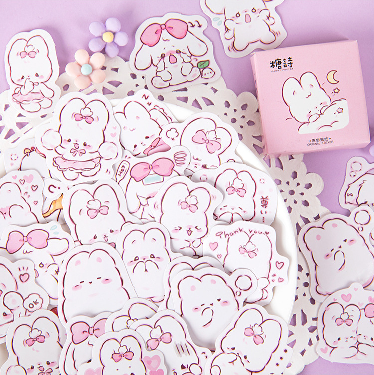 45 Pcs/box Cute Rabbit Daily Kawaii Decoration Stickers Planner Scrapbooking Stationery Korean Diary Stickers