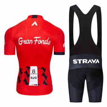 2019 new red STRAVA Pro Bicycle Team Short Sleeve Maillot Ciclismo Men\'s Cycling Jersey Summer breathable Cycling Clothing Sets