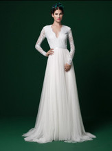цена на Long Sleeves Modest Bogo Wedding Dresses Long Sleeves V Neck Lace Top Tulle Skirt Informal Outdoor Beach Informal Bridal Gowns