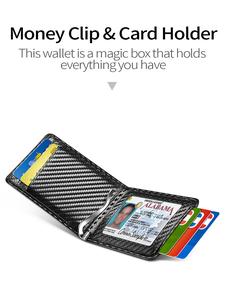 Image 2 - NewBring etui na karty organizator Carbon fibre Look klips do pieniędzy do portfela RFID Block prawo jazdy gotówka mężczyźni biznes etui na kartę kredytową
