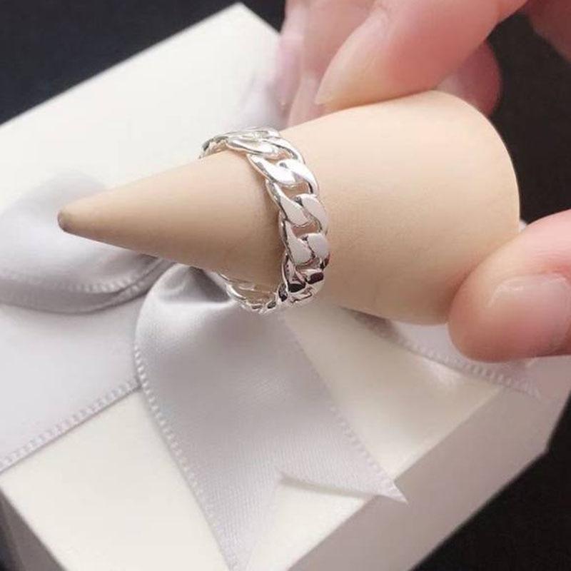 925 Sterling Silver Curb Ring Custom Personalized Ring Men or Women Fashion Shinny Ring