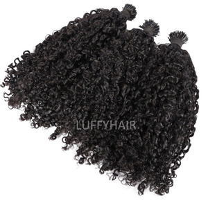 Sassy кудрявые I-образные волосы для наращивания, 100 прядей, Remy, бразильские человеческие волосы с микрокрасками, кератиновые волосы черного и ...