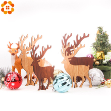 1PCS Christmas Wooden Deer Pendants Ornaments DIY Xmas Tree Kid Gift For Party Decoration