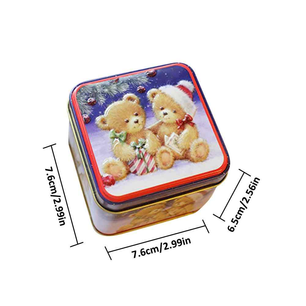 12PCS Christmas Small Square Box 2.99x2.99x2.56in Tin Packaging Gift Box For Candy Baking Biscuit Christmas Candy Small Gift Box