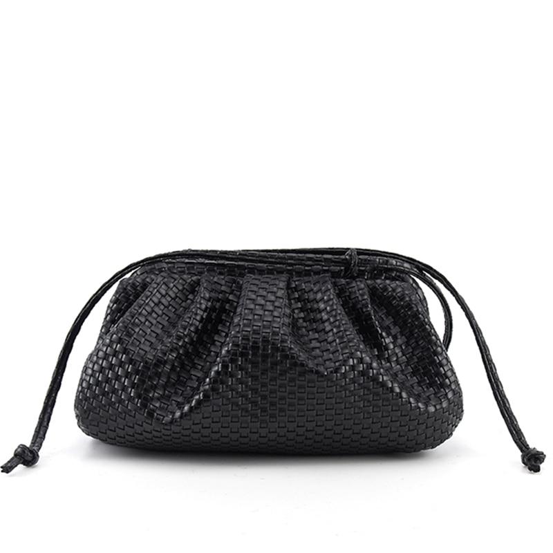 Женская сумка, тканая сумка, сумка с облаком, мягкая кожа, сумка для леди, на одно плечо, Наклонная Сумка, сумка, сумочка, клатчи, сумки, сумка-м...