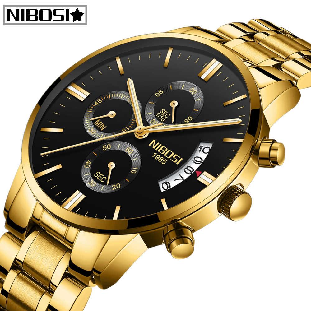 2019 Relogio Masculino NIBOSI Mens חדש שעונים עמיד למים ספורט אוטומטי-תאריך קוורץ גברים שעון הכרונוגרף יוקרה עסקים שעונים גברים