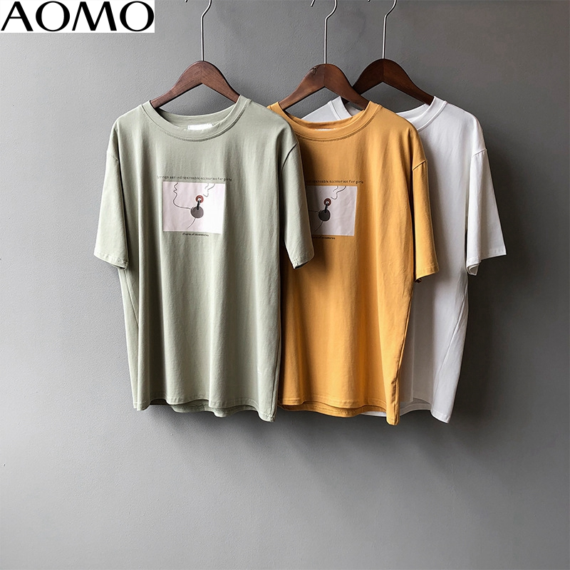 AOMO  2020 Summer Women Print Cotton T Shirt Short Sleeve Tees Ladies Casual Tee Shirt Top High Quality ASF17A