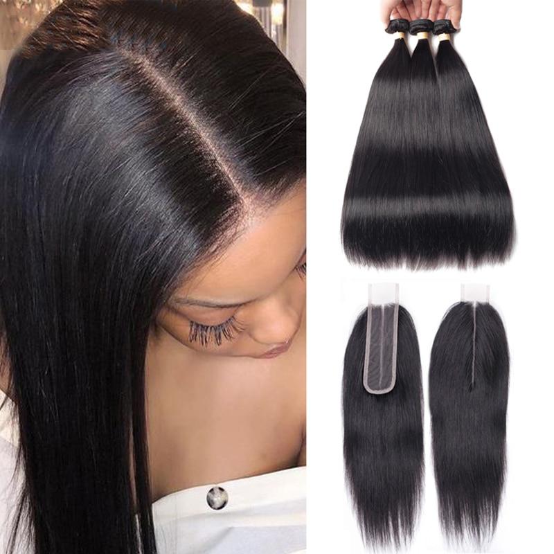 Sapphire Hair Brazilian Human Hair Bundles With Closure Kim K Lace Closure Straight Hair Bundles With Closure 2*6 Free Part