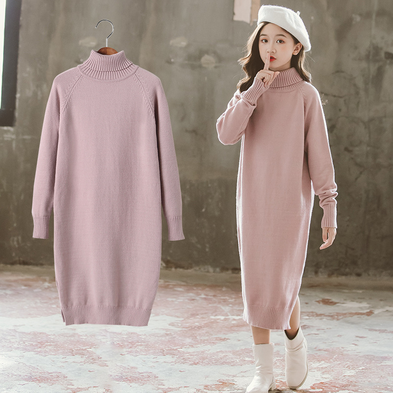 Girls Dress 8 To 9 Years 2020 Winter Clothes For Teenage Girls Sweater Dress Long Sleeve Solid Warm Kids Clothes Girls 7 To 8 12 1