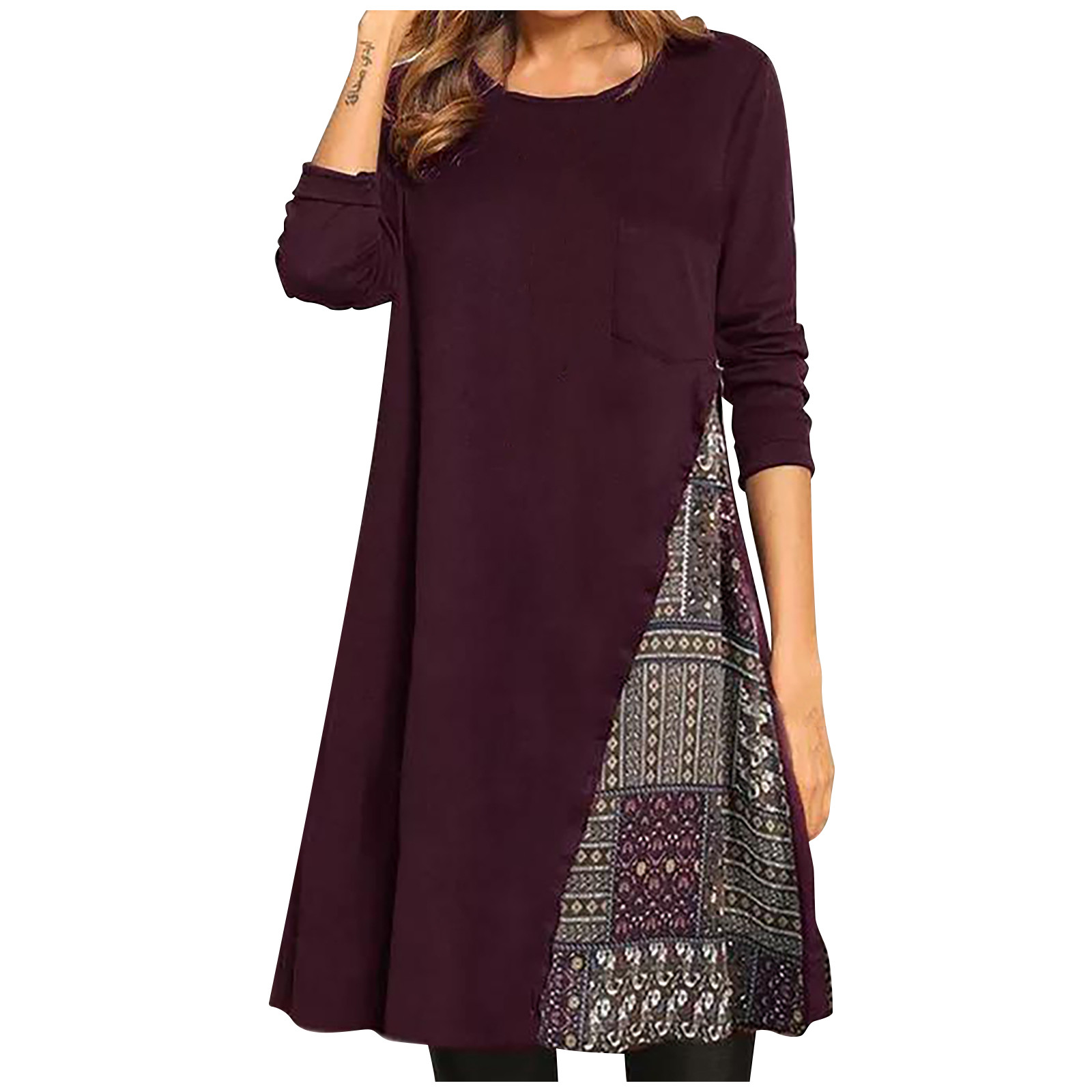 vestido de mujer Women Boho Print Color Block Shirt Round Neckline Shift Long Sleeve Pocket Dress