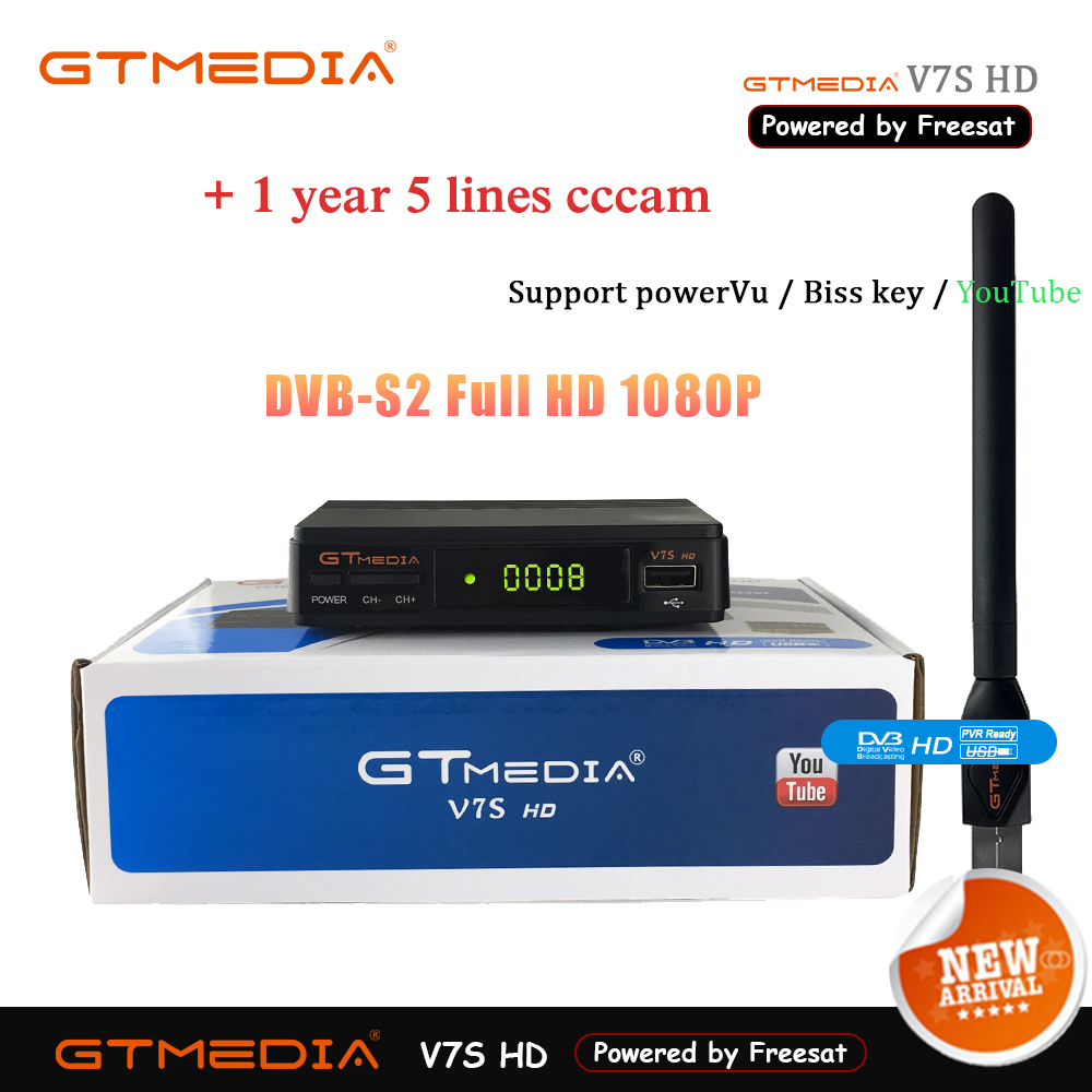 GTMEDIA V7S HD DVB-S2 Digital Satellite Receiver Decoder With USB WiFi Antenna Receiver Sat FTA 1080P Full HD And 2 Year CLINE