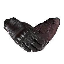 Vintage Leather Motorcycle Racing Handschoen Schapenvacht Moto Guantes Luvas Volledige Vinger Touchscreen Ridder Handschoen Schokbestendig Ademend