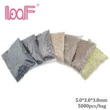 LOOF 5000 Uds./color 5mm de silicona, enlaces de microring para cabello, cuentas para utensilios para extensiones de cabello, 8 colores disponibles