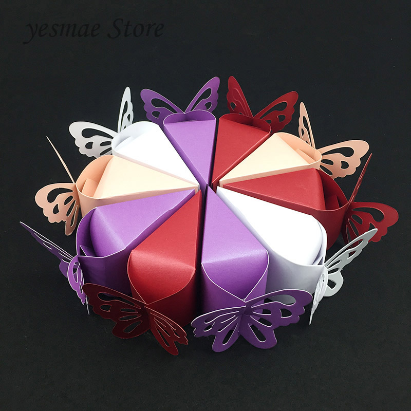 10pcs/lot Triangles Butterfly Paper Candy Box Bag Gift Box Wedding Party Supplies Wedding Party Decorations Favor Baby Shower