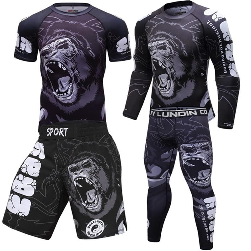 Boxing Shirts Set Compression Men Sport T shirts+Pants Rashguard Jitsu Rash Guard KickBoxing Sets Muay Thai Jersey MMA Fightwear
